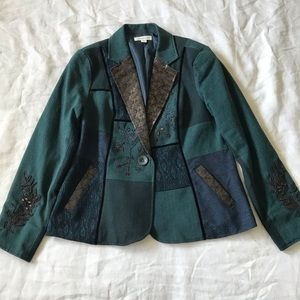 Coldwater Creek // Beaded Tapestry Blazer Size 14